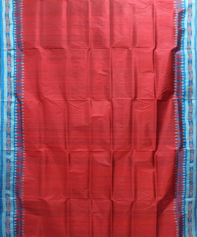 Handwoven Khandua Silk Saree of Nuapatna in Maroon and Dodger Blue