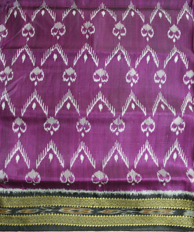 Handwoven Khandua Silk Saree of Nuapatna in Purple and Black