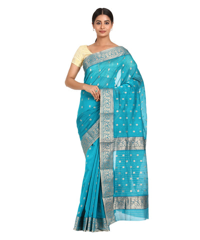 Turquoise Blue Handwoven Chanderi Sico Saree