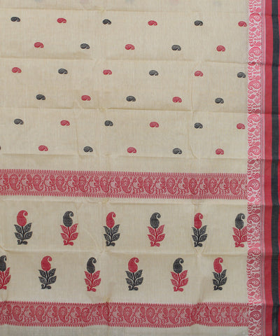 Brown Red Handloom Tant Cotton Saree