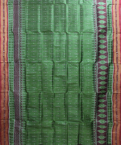 Handwoven Khandua Silk Saree of Nuapatna in Green and Maroon