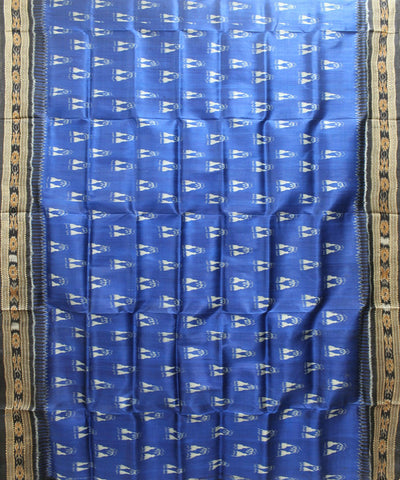 Handwoven Khandua Silk Saree of Nuapatna in Blue and Black