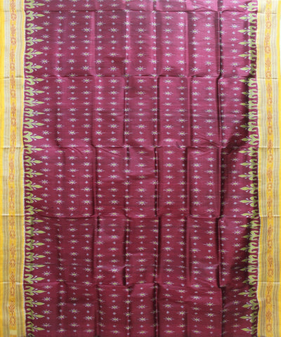 Handwoven Khandua Silk Saree of Nuapatna in Maroon and Yellow