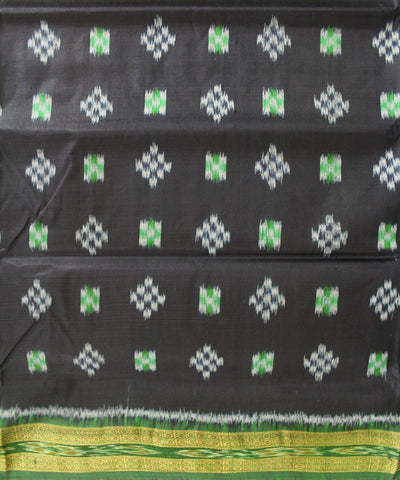 Handwoven Khandua Silk Saree of Nuapatna in Black and Green