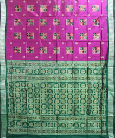 Handwoven Bomkai Silk Saree of Sonepur in Pink and Green