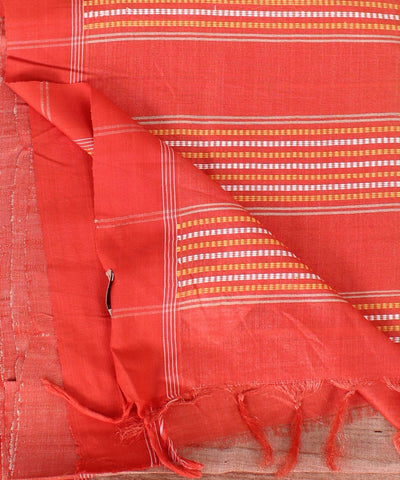 ECOTASAR Cream & Orange Handwoven Printed Tussar Saree