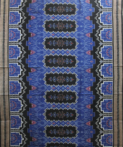 Handwoven Pasapalli Cotton Saree in Blue and Black