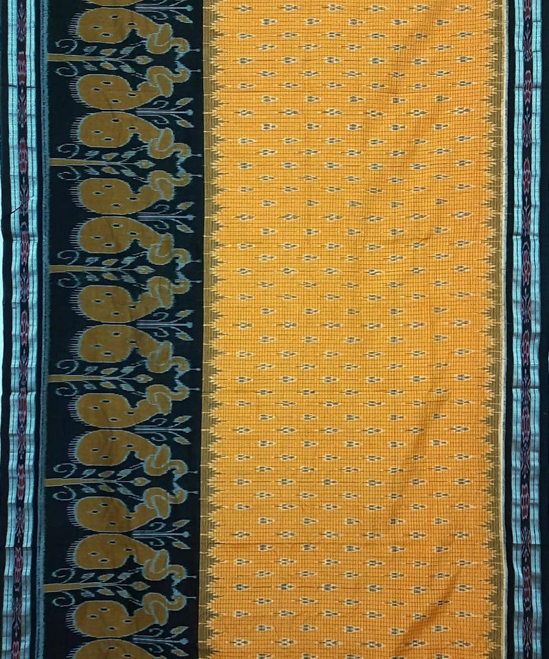 Yellow and Black Nuapatana Handloom Cotton Saree
