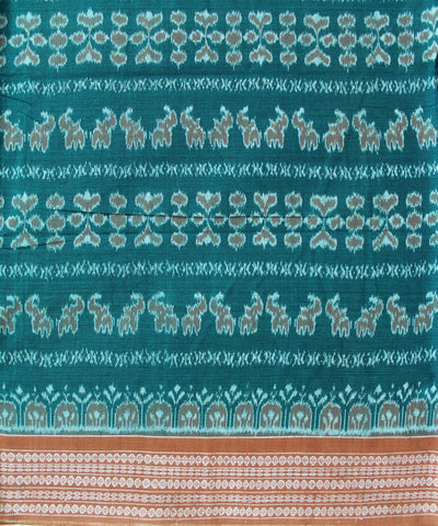 Handwoven Sambalpuri Ikat Cotton Saree in Green and Peru