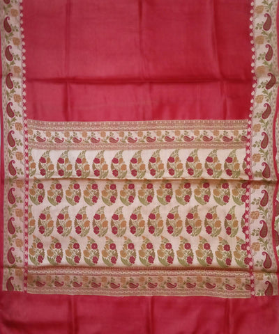 Banarasi Light crimson red Handloom Silk Saree
