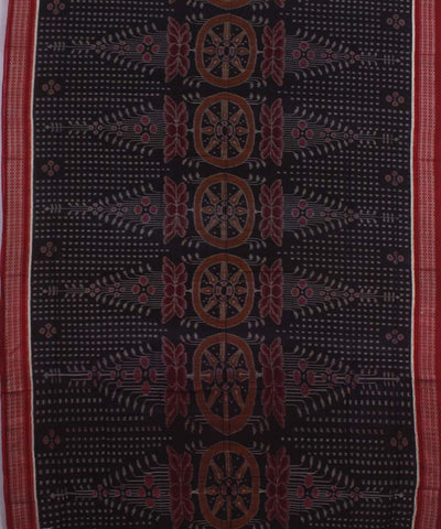 Sambalpuri Black Maroon Handloom Cotton Saree