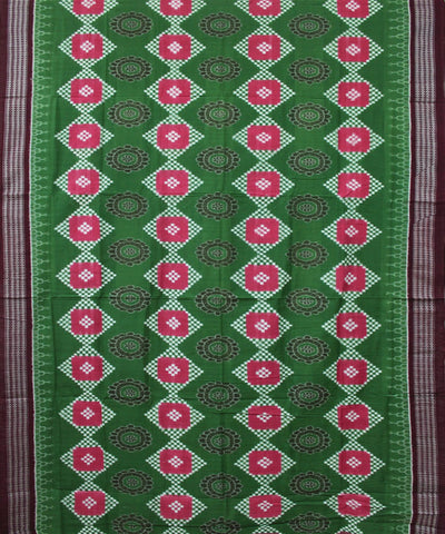 Handwoven Pasapalli Cotton Saree in Green and Maroon