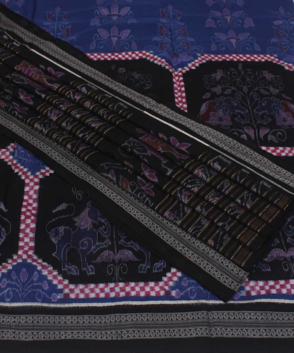 Sambalpuri Blue Black Handloom Cotton Saree
