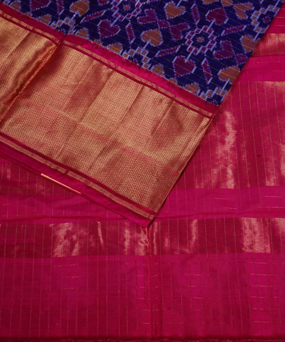 Dark Ink Blue Handloom Ikkat Silk Saree