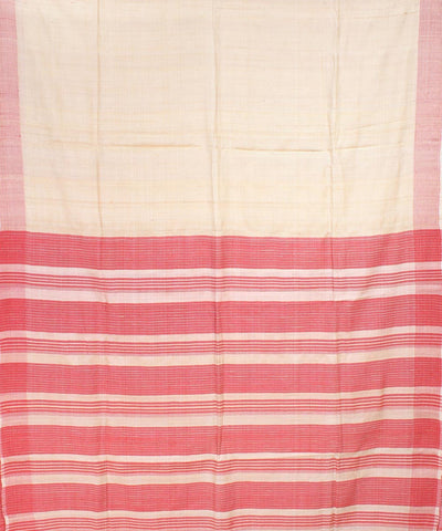 Cream Red color Handloom Printed Tussar Saree