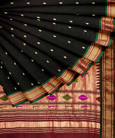 paithani Black handwoven silk saree