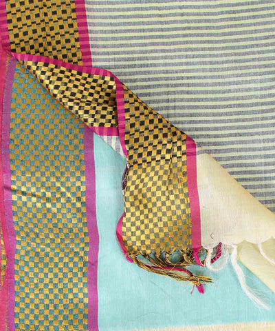 ECOTASAR Cream Handwoven Tussar Saree