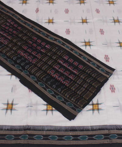 White Black Handloom Sambalpuri Ikat Saree