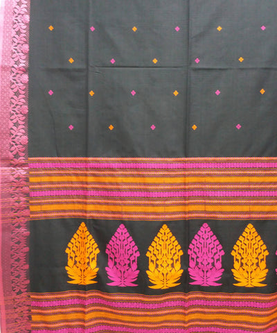 Black and red handwoven bengal mercerised cotton saree