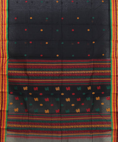Black Handloom Tant Cotton Saree