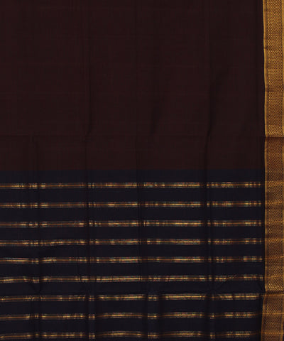 Deep Coffee Black Mangalagiri Cotton Saree