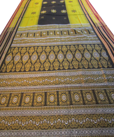 Mehendi and Black Bomkai Cotton Saree