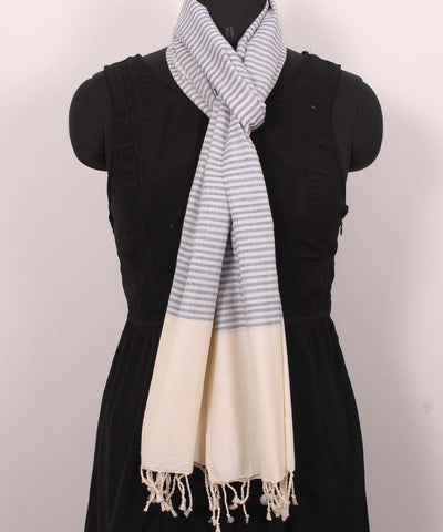 Handwoven Lavender And Beige Cotton Stole