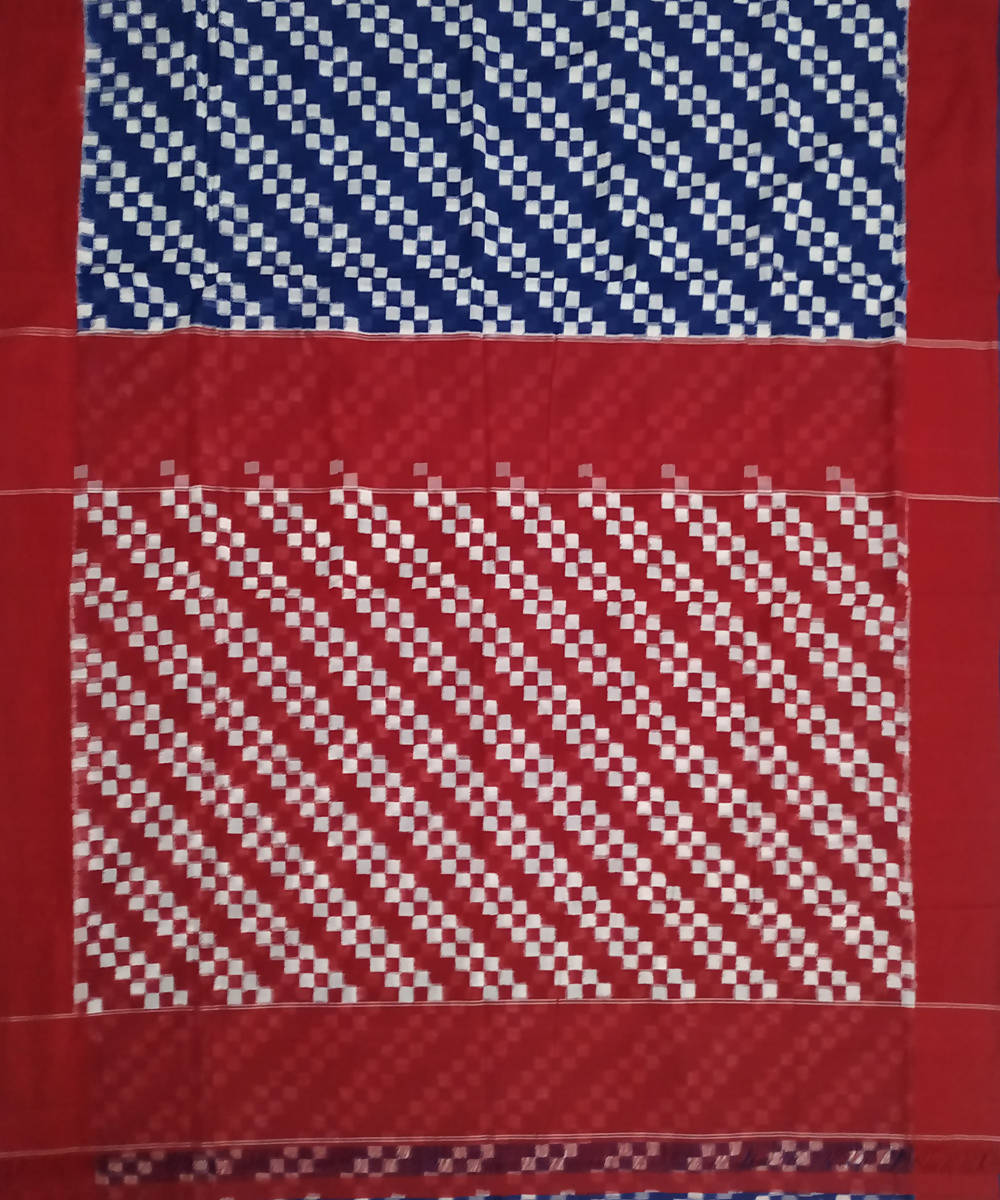 Blue red ikkat handwoven cotton pochampally saree