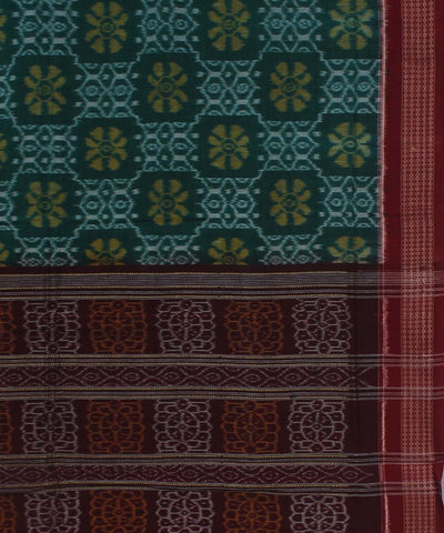 Leaf Green Maroon Handloom Sambalpuri Saree