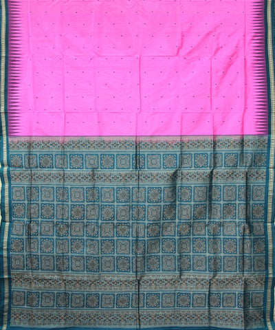 Handwoven Patli Bomkai Silk Saree of Sonepur in Hot Pink and Teal