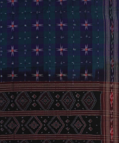 Blue Check Star Handloom Sambalpuri Saree