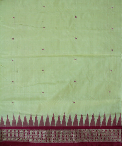 Handwoven Bomkai Silk Saree of Sonepur in Cream and Barbie Pink