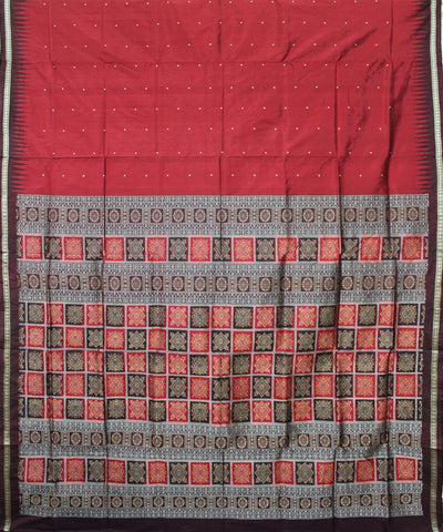 Handwoven Bomkai Silk Saree of Sonepur in Maroon and Coffee