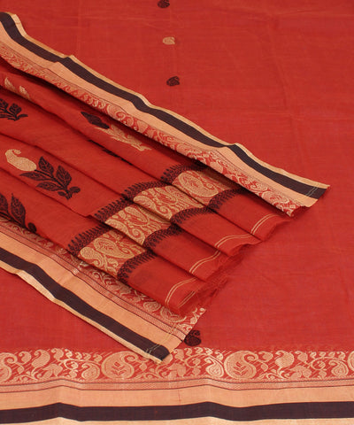 Orange Handloom Tant Cotton Saree