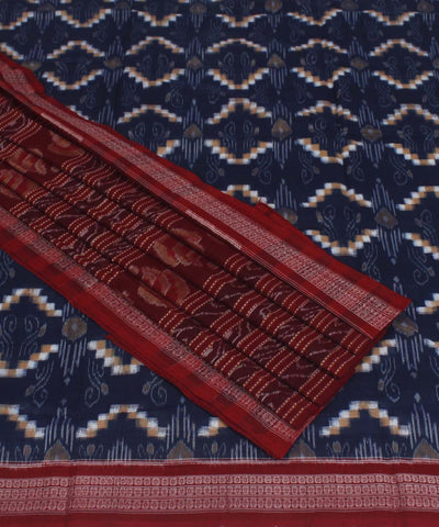 Handloom Sambalpuri Blue Maroon Cotton Saree