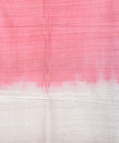 Pink and Off White Eri Silk Assam Stole