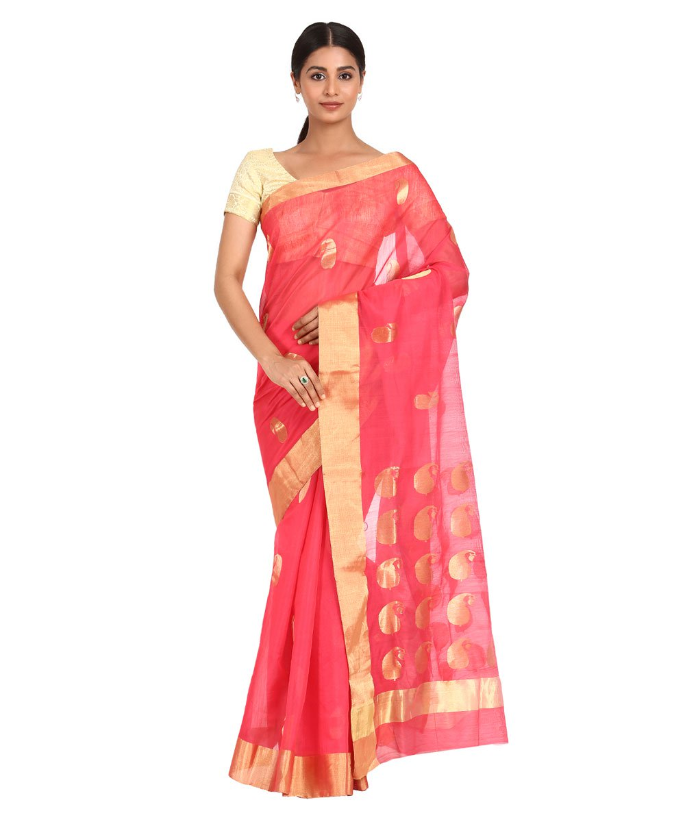 Rose Pink Handwoven Chanderi Sico Saree