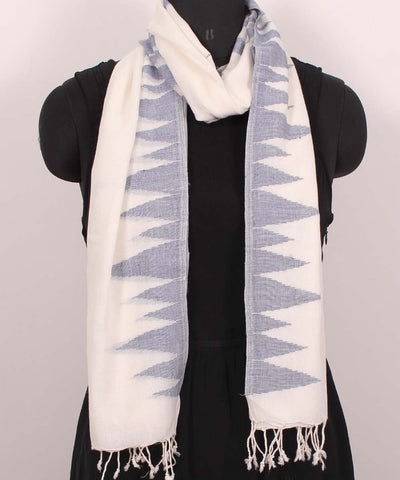 Handwoven Off White Cotton Stole