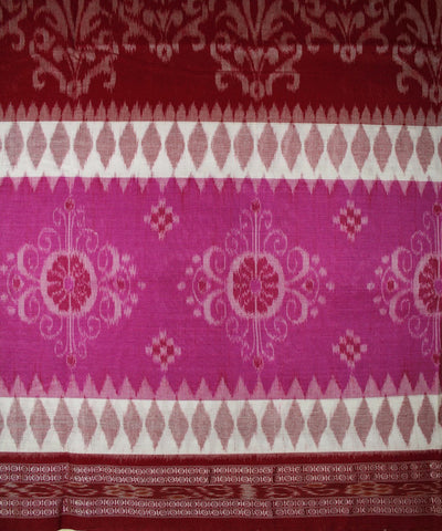 Handwoven Nuapatna Ikat Cotton Saree in Magenta and Maroon