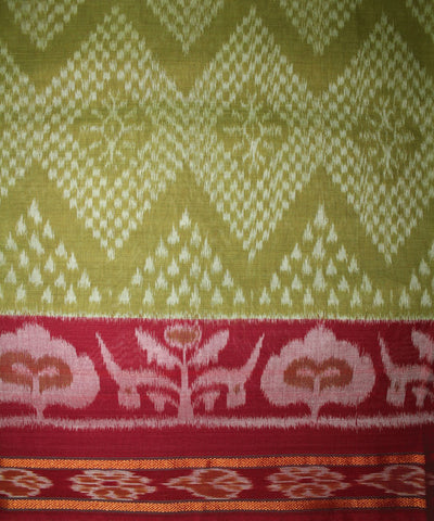 Handwoven Nuapatna Ikat Cotton Saree in Olive Green and Maroon