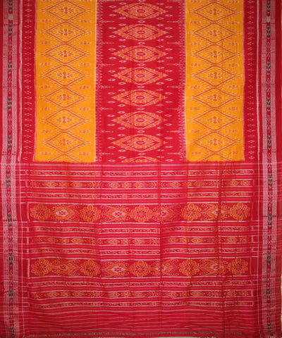 Handwoven Nuapatna Ikat Cotton Saree in Yellow and Red