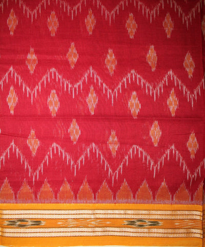 Handwoven Nuapatna Ikat Cotton Saree in Maroon and Yellow
