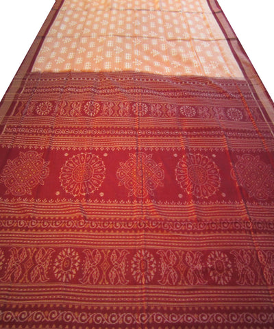 Traditional Peach and White Cotton Saree