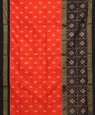 Orange Ikkat Handloom Pochampally Silk Saree