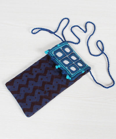 Lambani Embroidery Navy Blue Mobile Pouch