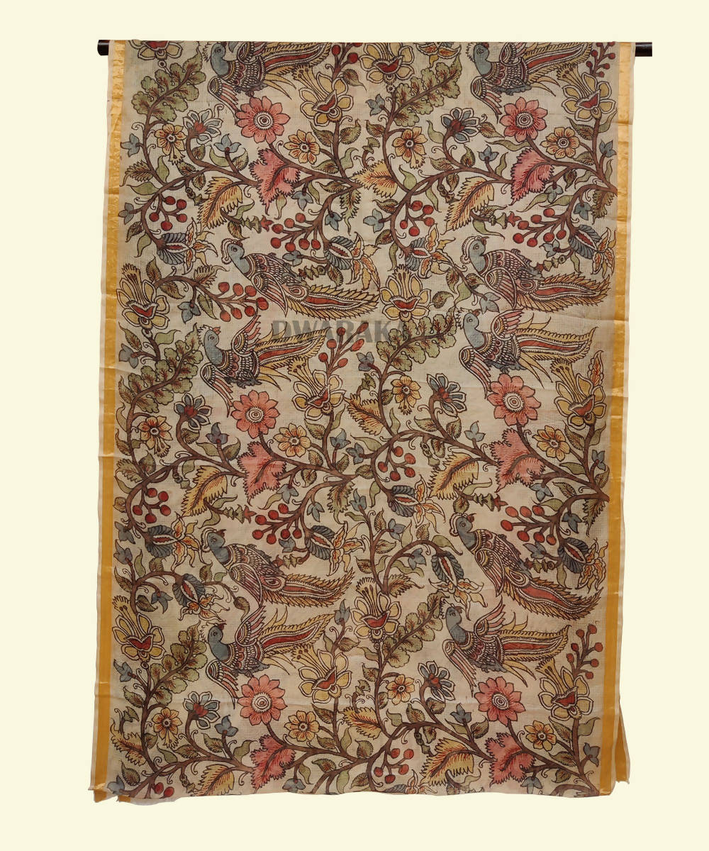Cream hand painted kalamkari kota silk saree