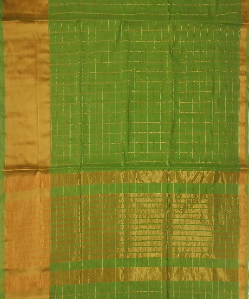Green stripes handwoven venkatagiri cotton saree