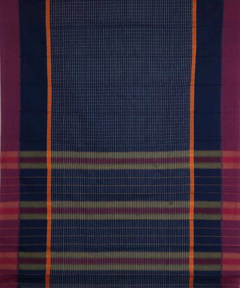 Navy Blue Stripes Handloom Narayanpet Saree