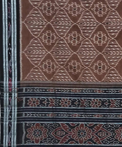 Deep Brown and Black Nuapatna Handwoven Cotton Saree