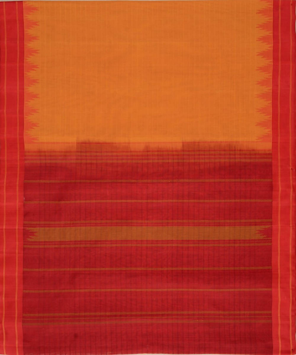 Mustard kanchi cotton saree red silk korvai temple border
